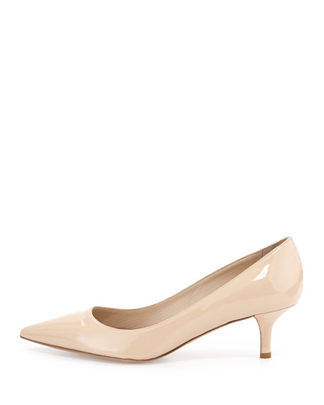 Delman Belle Patent Low-Heel Pump Nude