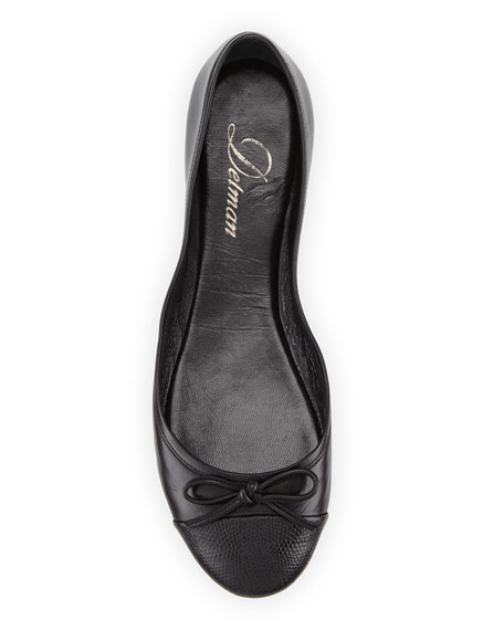 Blake Embossed-Toe Ballerina Flat