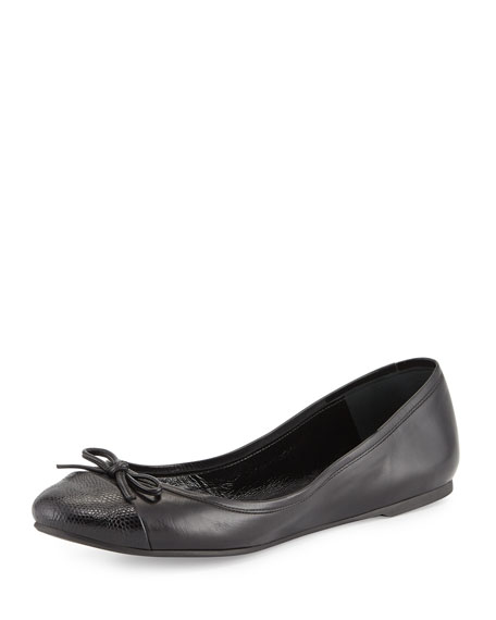 Delman Blake Embossed-Toe Ballerina Flat