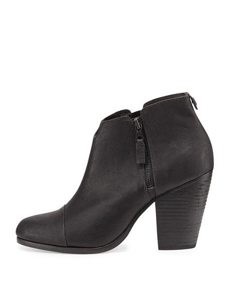 Margot Leather Zip Bootie, Black