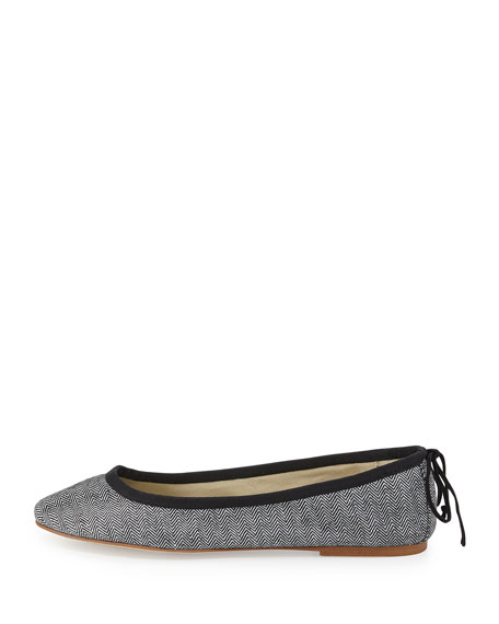 Slip-On Herringbone Ballet Flat, Black