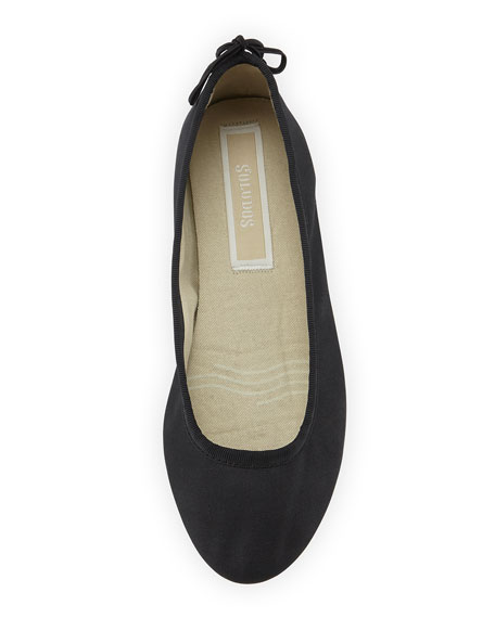 Slip-On Sateen Ballet Flat, Black