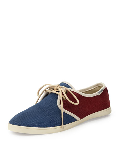 Lace-Up Colorblock Canvas Sneaker, Navy/Red