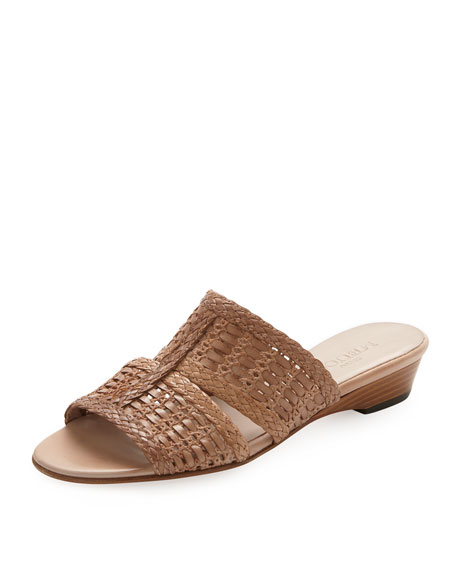 Galen Woven Leather Slide Sandal, Natural