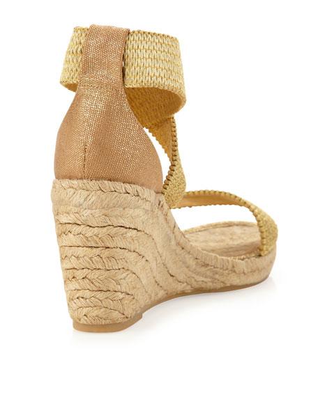 Pamela Stretch Wedge Sandal, Gold