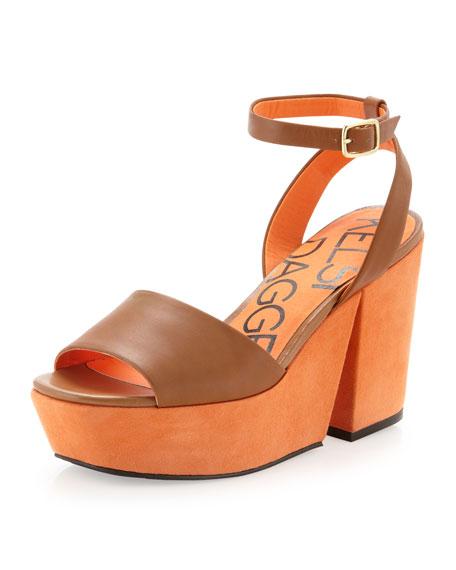 Tani Two-Tone Platform Sandal, Luggage/Orange