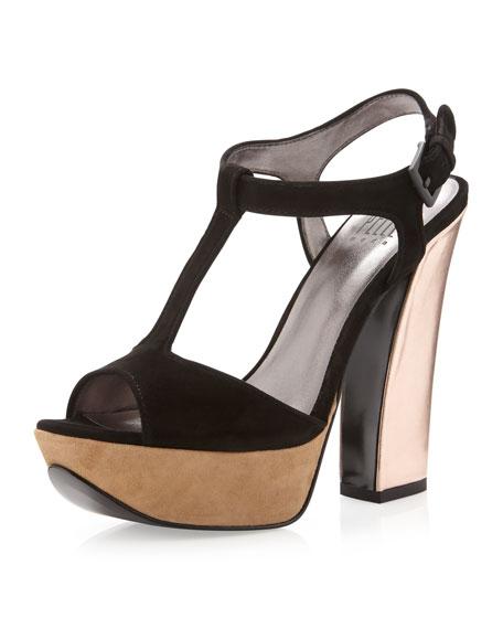 Yvanka Colorblock T-Strap Sandal, Black