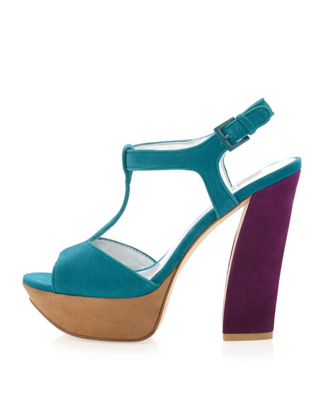 Yvanka Colorblock T-Strap Sandal, Teal