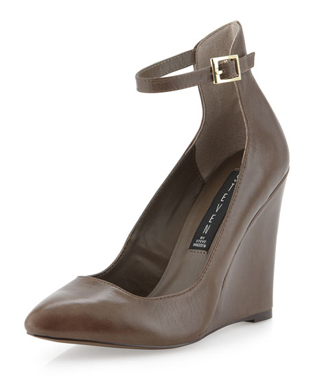 Wisty Halter Ankle Wedge Pump, Taupe