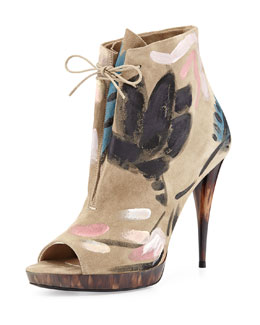 Burberry Runway Painted Ankle Boot, Light Gray Melange
