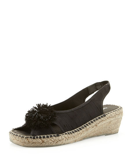 Dion Pom Pom Slingback Wedge, Black