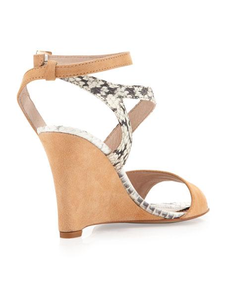 Briella Snake & Suede Wedge Sandal, Orange