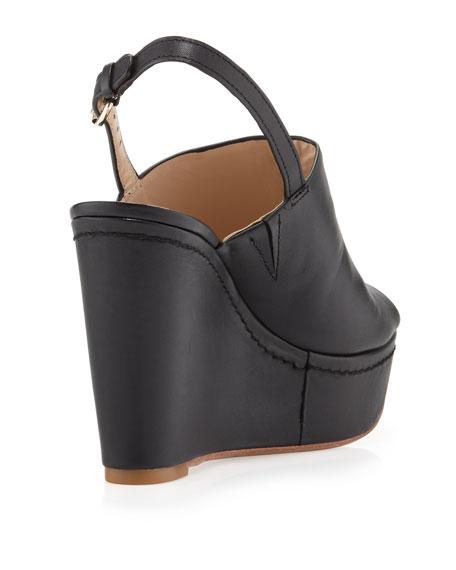 Lena Slingback Peep-Toe Wedge, Black
