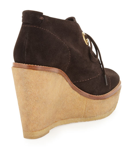 Platform Wedge Suede Ankle Boots, Brown
