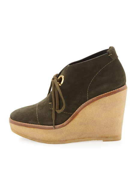 Platform Wedge Suede Ankle Boots, Green