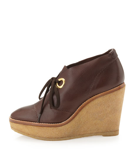Platform Wedge Ankle Boots, Brown