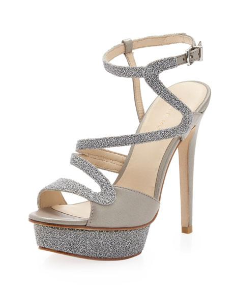 Ansel Zigzag Strap Sandal, Silver Pearl