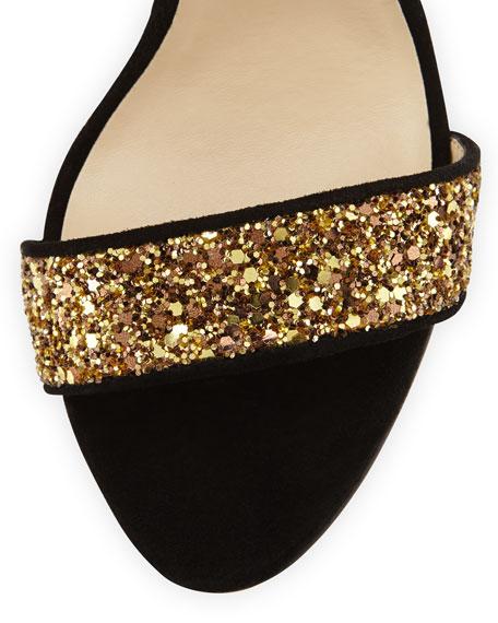 Ardina Brass Glitter Sandal, Brass/Black