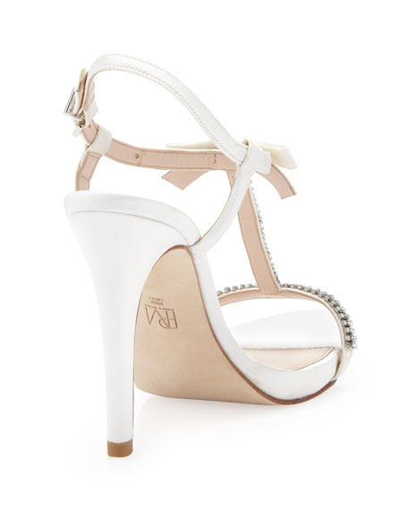 Tabby Bejeweled T-Strap Sandal, White