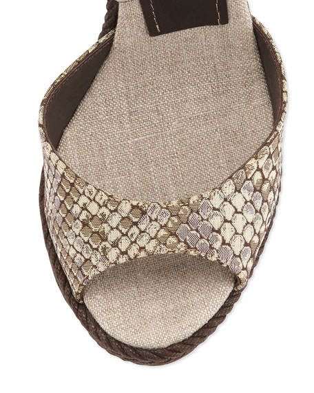 Formentera Snake-Print Stretch Wedge, Bronze