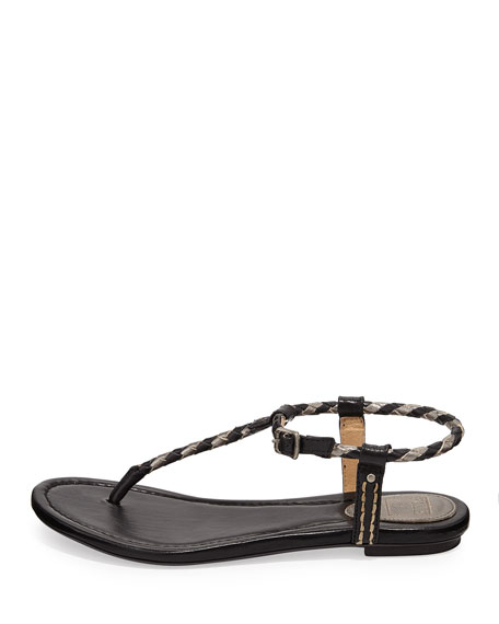 Madison Braided Thong Sandal, Black Multi