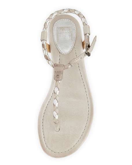 Madison Braided Thong Sandal, Silver Multi