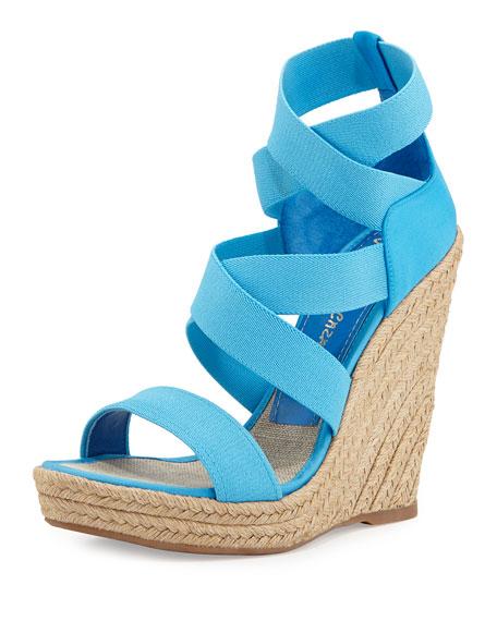 Fela Strappy Wedge Sandal, Turquoise