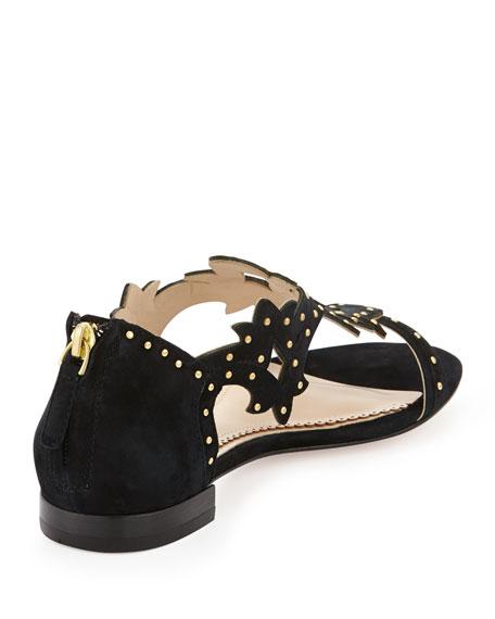 Katia Studded Suede Sandal, Black