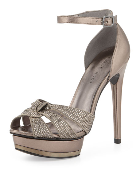 Ava Jeweled Metallic Leather and Suede Peep Toe Sandal, Pewter