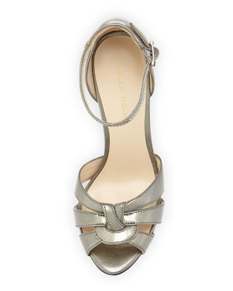 Avi Patent Leather Peep-Toe Sandal, Slate