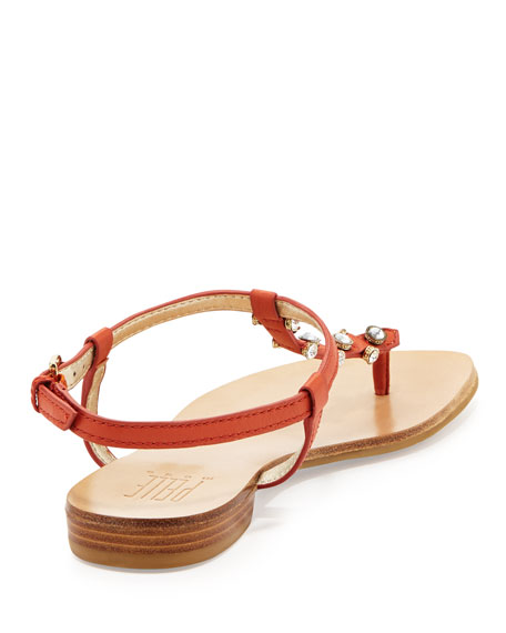 Bayou Leather T-Strap Sandal, Persimmon