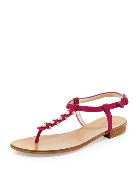 Bayou Suede T-Strap Sandal, Fuchsia