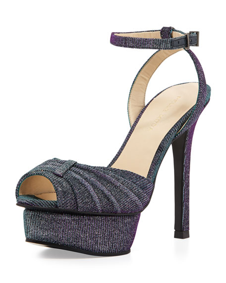 Ellen 1 Iridescent Shimmer Fabric Platform Sandal, Azure