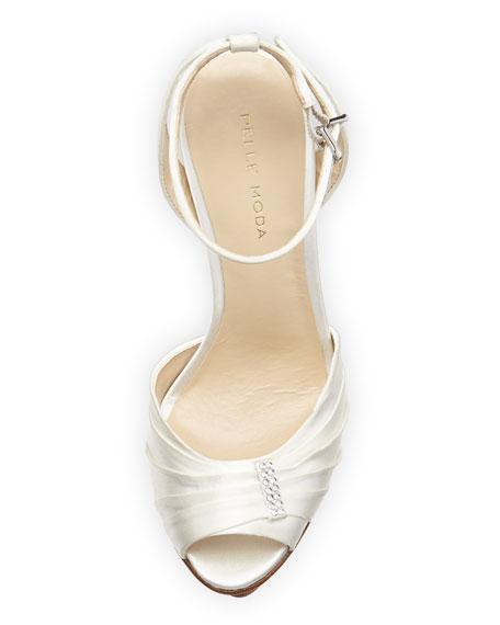 Ellen Silk Peep-Toe Platform Sandal, White
