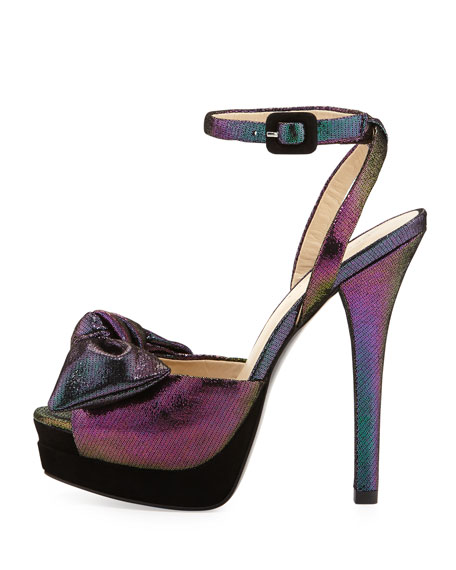 Gisella Iridescent Suede Peep-Toe Sandal, Violet