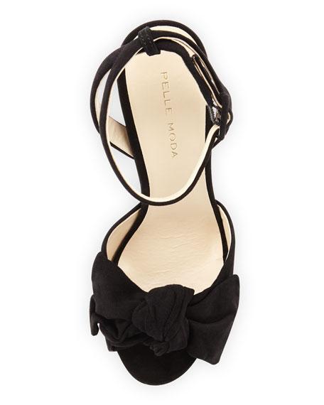 Gisella Suede Peep-Toe Sandal, Black