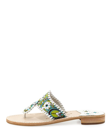 Peacock Printed Whipstitch Sandal, Turquoise/White