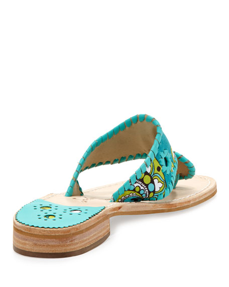 Peacock Printed Whipstitch Sandal, Turquoise