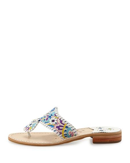 Paisley Whipstitch Sandal, Blue/White