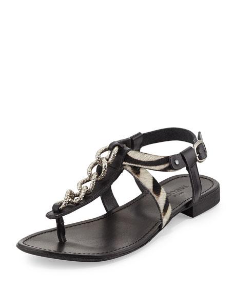 Irina Zebra-Print Calfskin Sandal, Black/Zebra