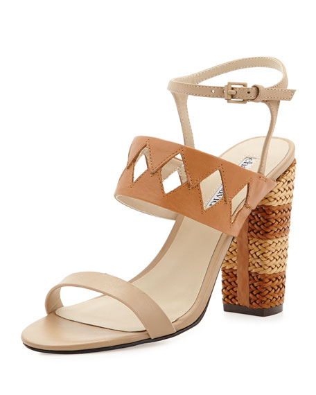 Jungle Woven Diamond Cutout Sandal, Nude/Cognac