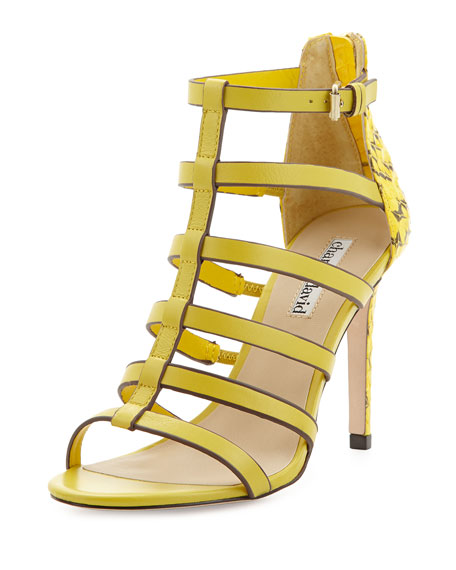 Idealize Snakeskin Strappy Sandal, Yellow