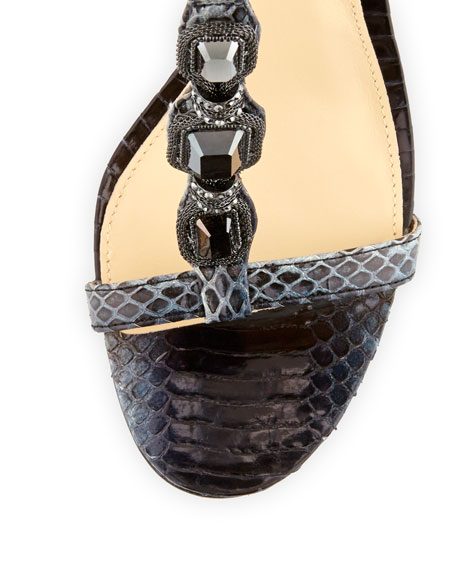 Benni Snake-Print Crystal Sandal, Black/White