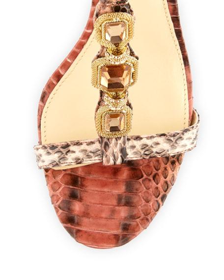 Benni Snake-Print Crystal Sandal, Nude/Salmon