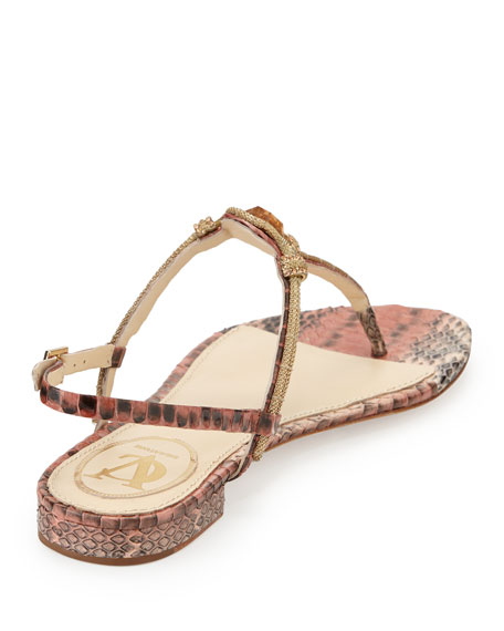 Diana Embellished Snake-Print Sandal, Nude/Salmon