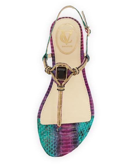 Diana Embellished Snake-Print Sandal, Purple/Teal