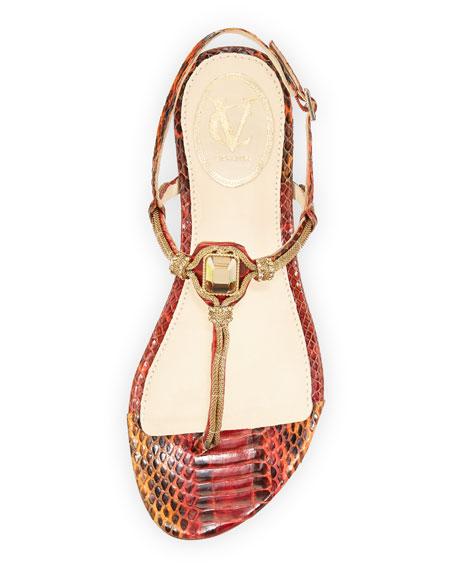 Diana Embellished Snake-Print Sandal, Poppy/Tangerine