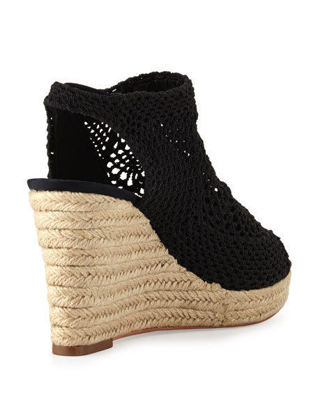 Minerva Crochet Wedge Sandal, Black