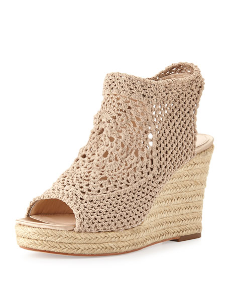 Minerva Crochet Wedge Sandal, Pale Nude