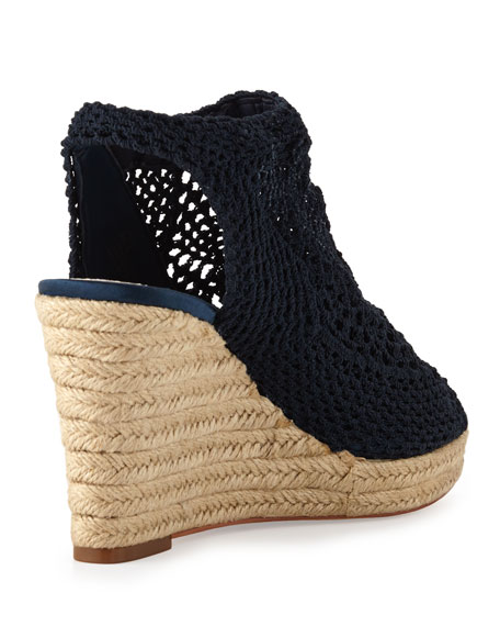 Minerva Crochet Wedge Sandal, Navy
